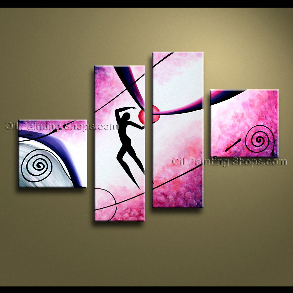Tetraptych Modern Abstract Painting Wall Art Figure Decoration Ideas