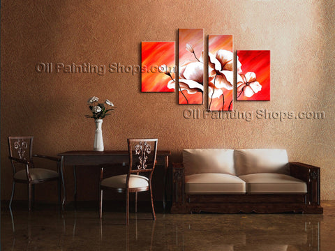 4 Pieces Contemporary Wall Art Floral Painting Poppy Flower Paintings