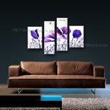 Tetraptych Contemporary Wall Art Floral Painting Poppy Flower Paintings