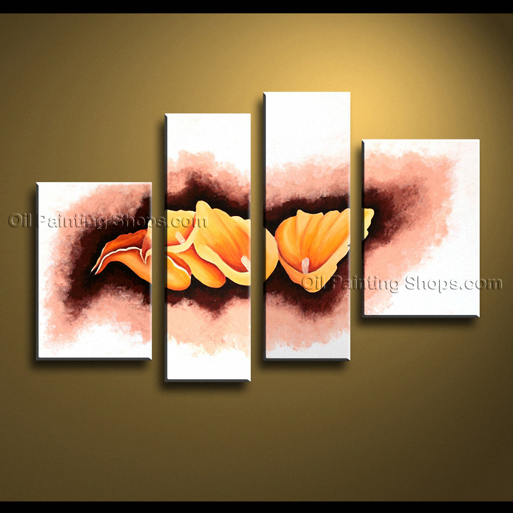 4 Pieces Contemporary Wall Art Floral Painting Lily Flower Paintings