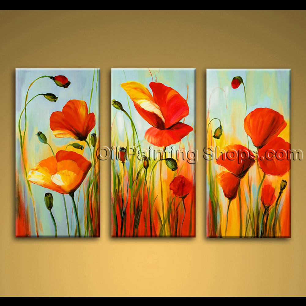 large abstract floral painting oil on canvas poppy flowers hand painted framed