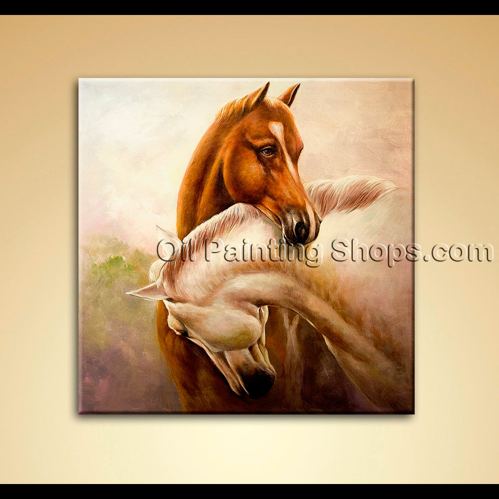 Contemporary Wall Art Canvas Oil Painting Brown White Brown Horse Companion