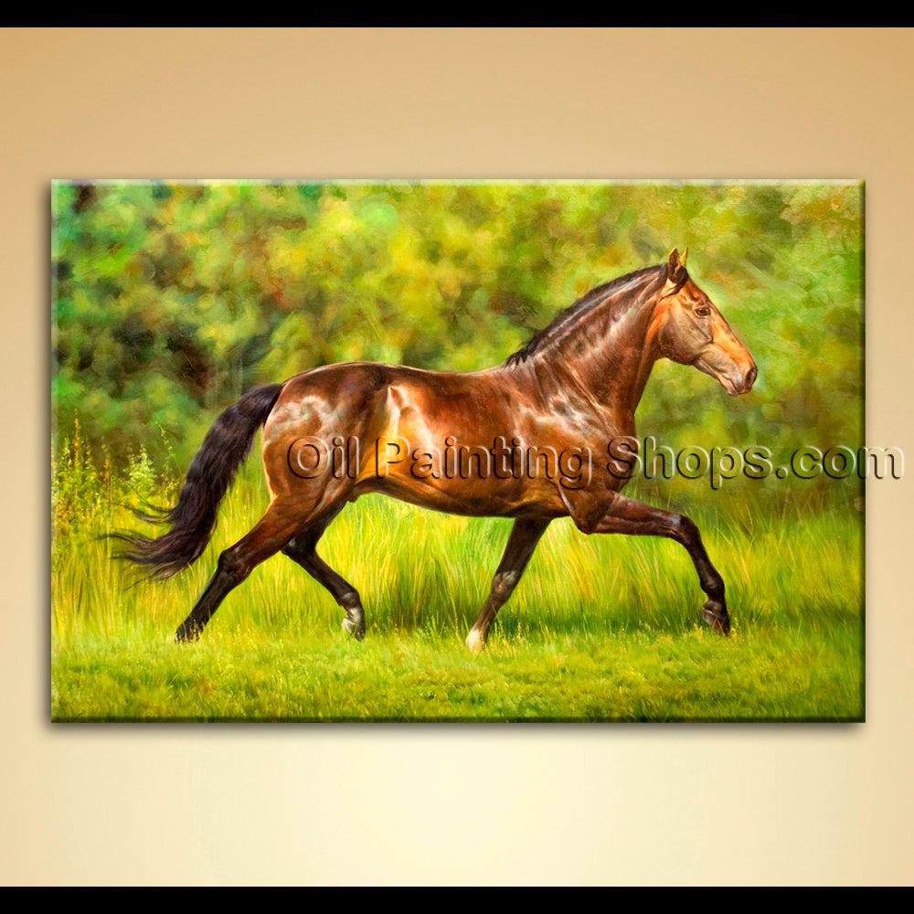 Contemporary Wall Art Canvas Oil Painting Dark Brown Horse On Grassland
