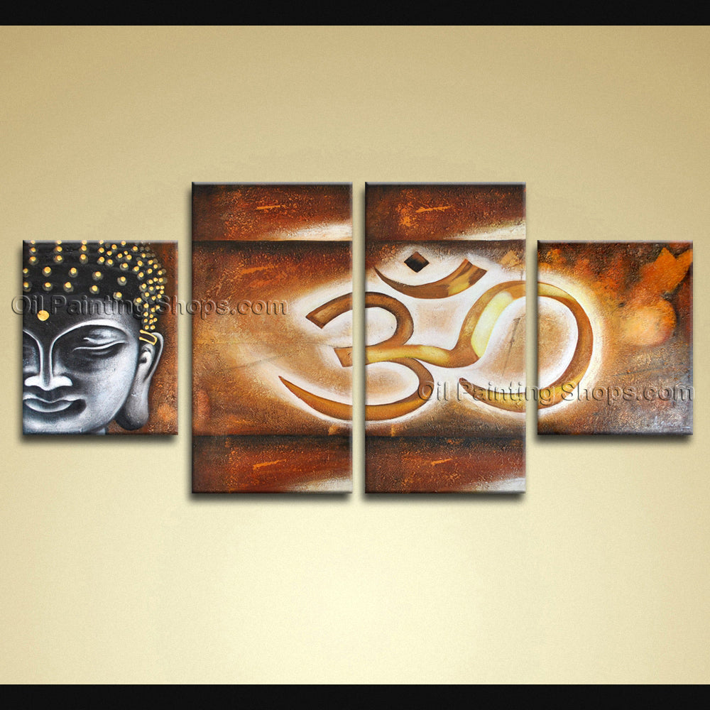 4 Pieces Feng Shui Zen Art Contemporary Painting Buddha Oil On Canvas