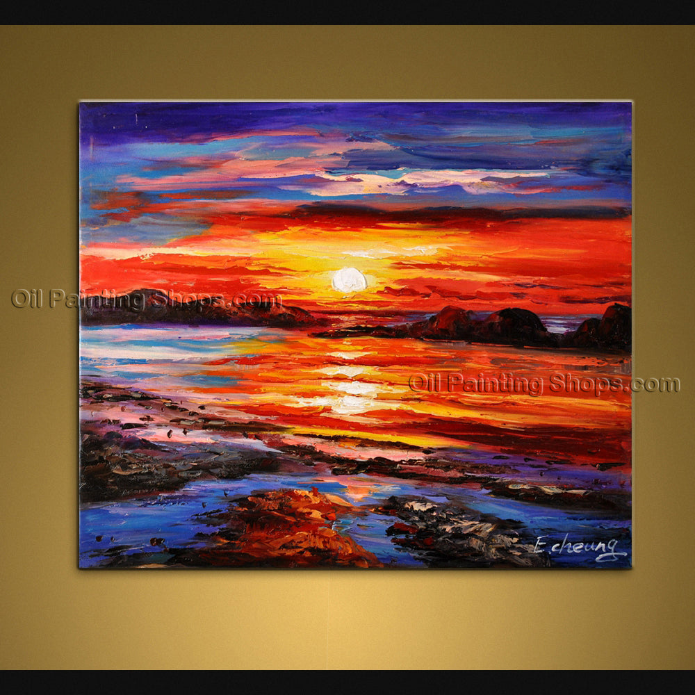 Amazing Contemporary Wall Art Seascape Painting Sunset Scenery Pictures