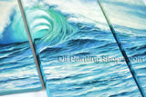 Triptych Contemporary Wall Art Seascape Painting Sea Wave Oil On Canvas