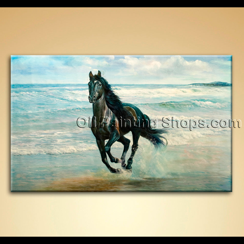 Fine Art Oil Painting Canvas Wall Arts Black Horse On Beach Home Decor