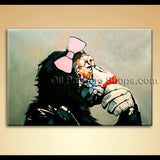Contemporary Abstract Painting Hand Painted Monkey Gorilla Girl Wall Art