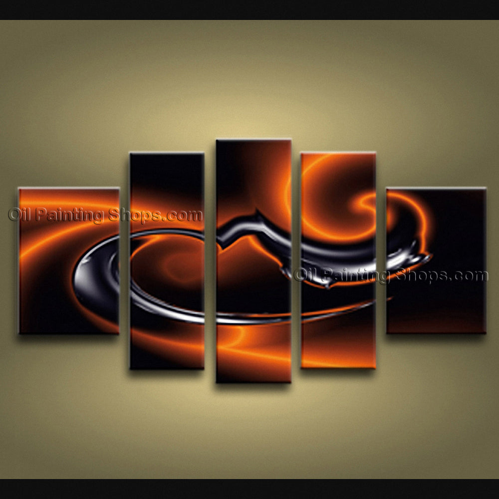 Handmade Pentaptych Modern Abstract Painting Wall Art Sci-fi Oil On Canvas