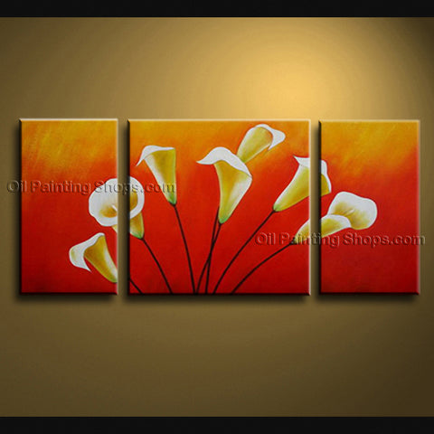 Triptych Contemporary Wall Art Floral Painting Lily Flower Paintings