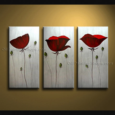 Stunning Contemporary Wall Art Floral Painting Poppy Decoration Ideas