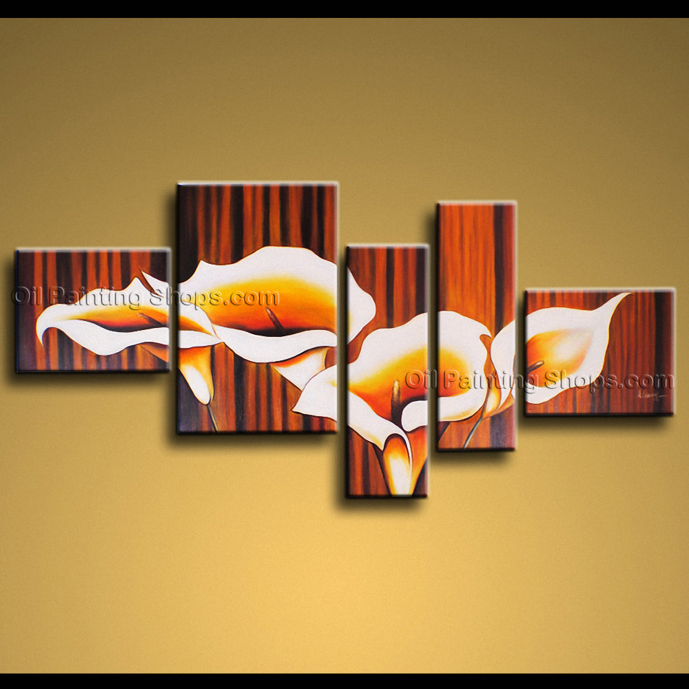 5 Pieces Contemporary Wall Art Floral Painting Lily Flower Oil Canvas