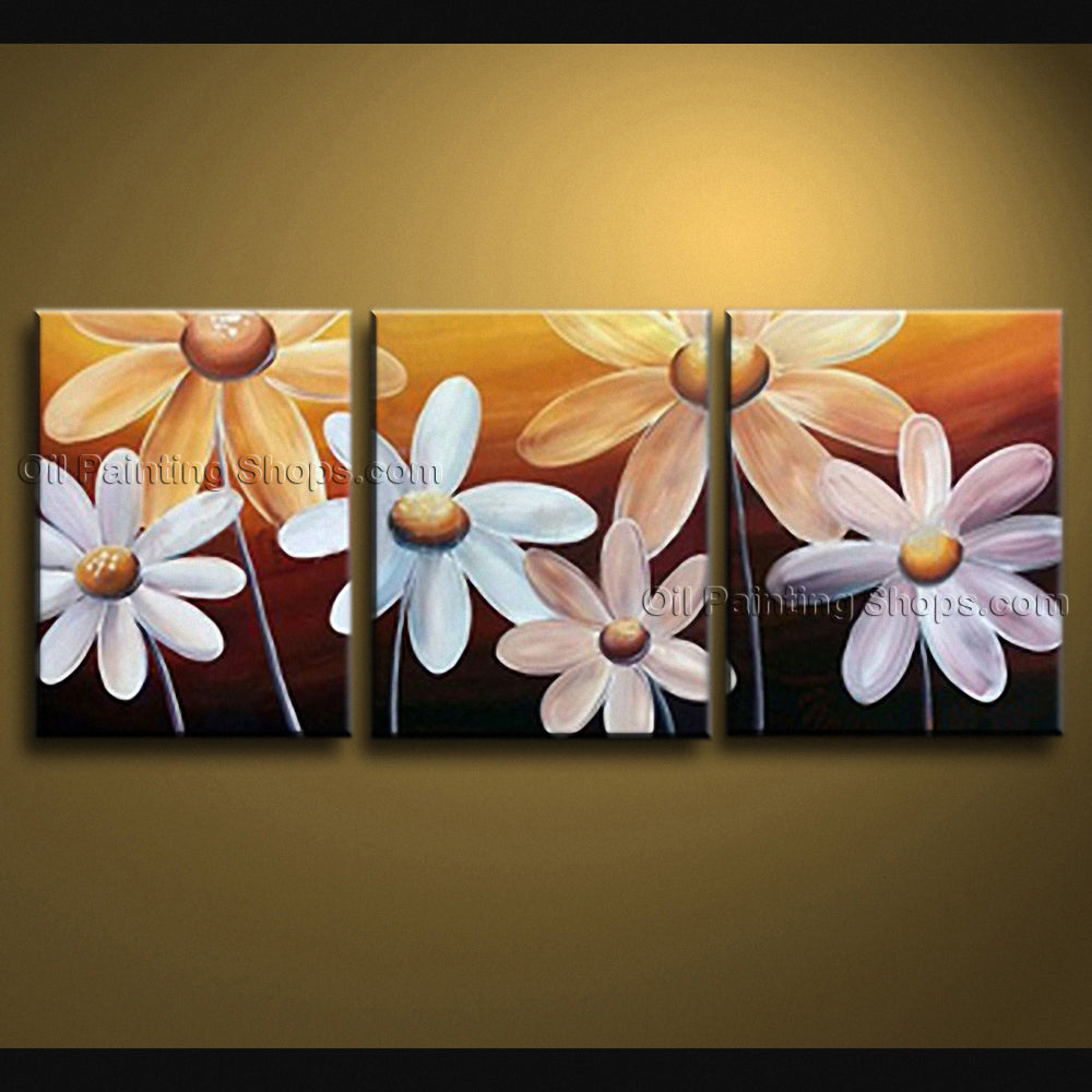 Triptych Contemporary Wall Art Floral Painting Egg Flower On Canvas