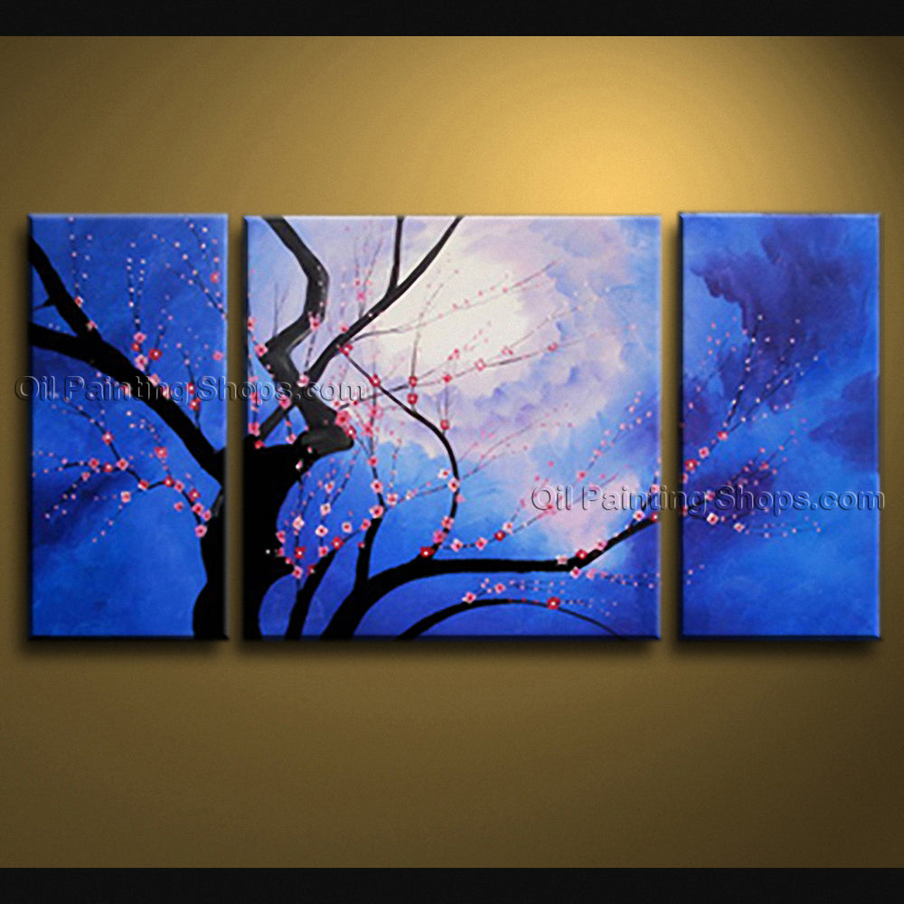 Stunning Contemporary Wall Art Floral Painting Cherry Blossom On Canvas