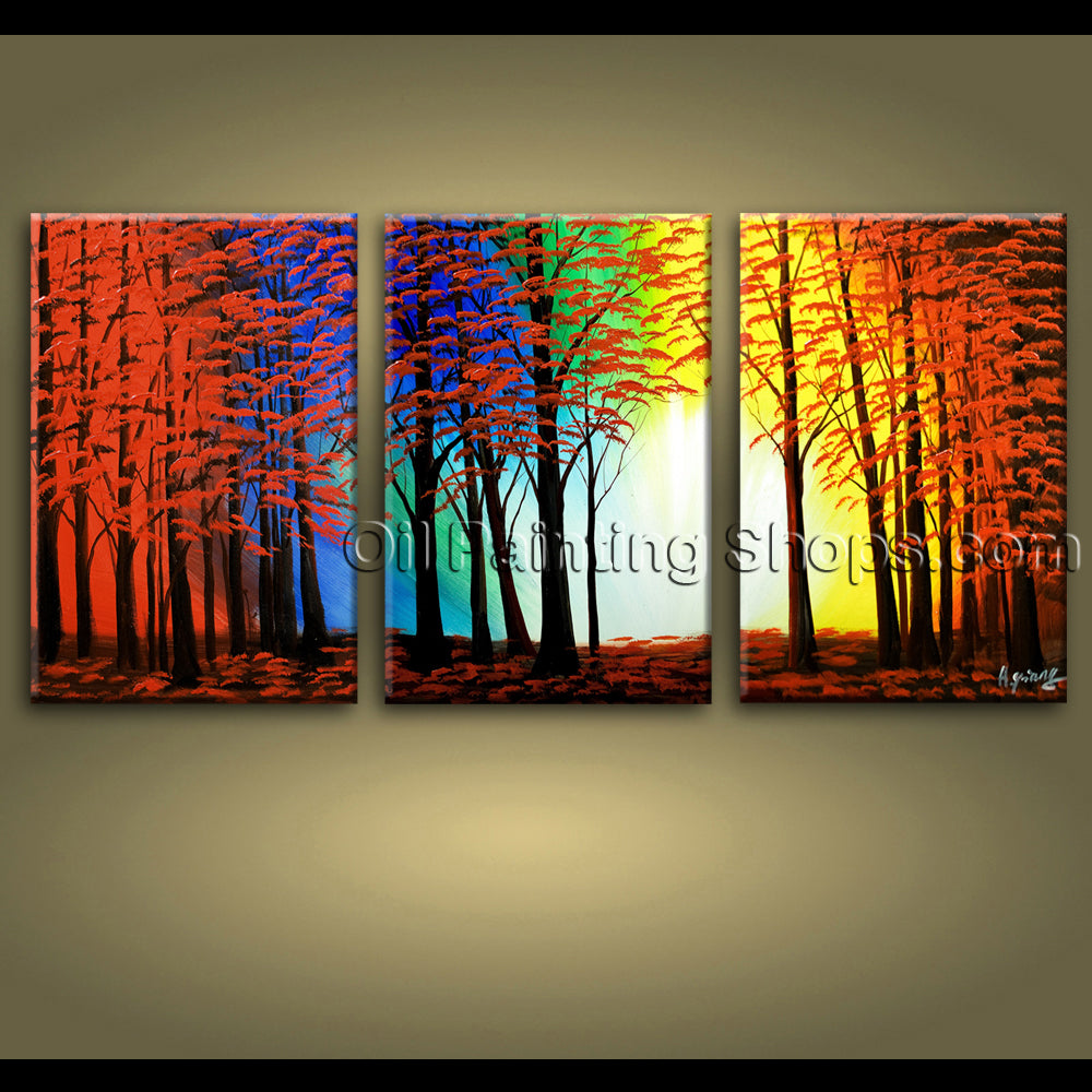 extra large wall art hand painted abstract landscape sunset tree road painting
