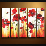 Large Contemporary Wall Art Floral Painting Poppy Flower Gallery Wrapped