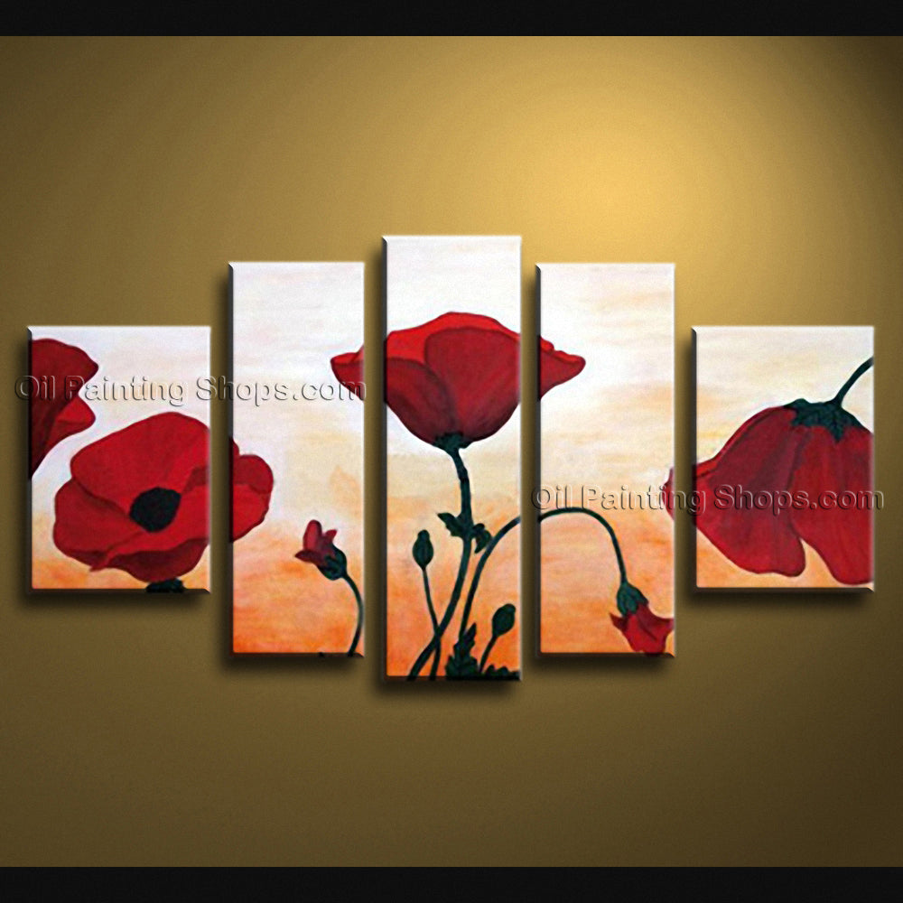 Large Contemporary Wall Art Floral Painting Poppy Decoration Ideas
