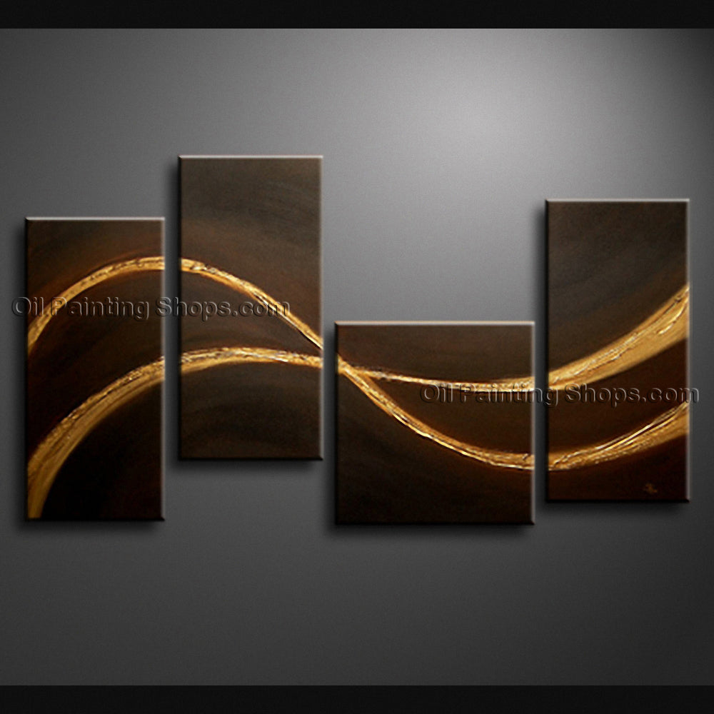 Handmade Tetraptych Modern Abstract Painting Wall Art Contemporary Decor