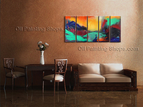 Hand Painted 5 Pieces Modern Abstract Painting Wall Art Artist Artworks