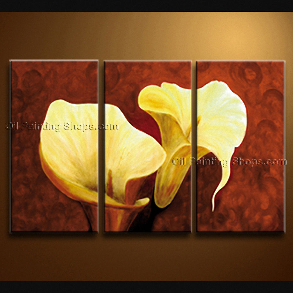 Stunning Contemporary Wall Art Floral Painting Lily Flower Oil Canvas