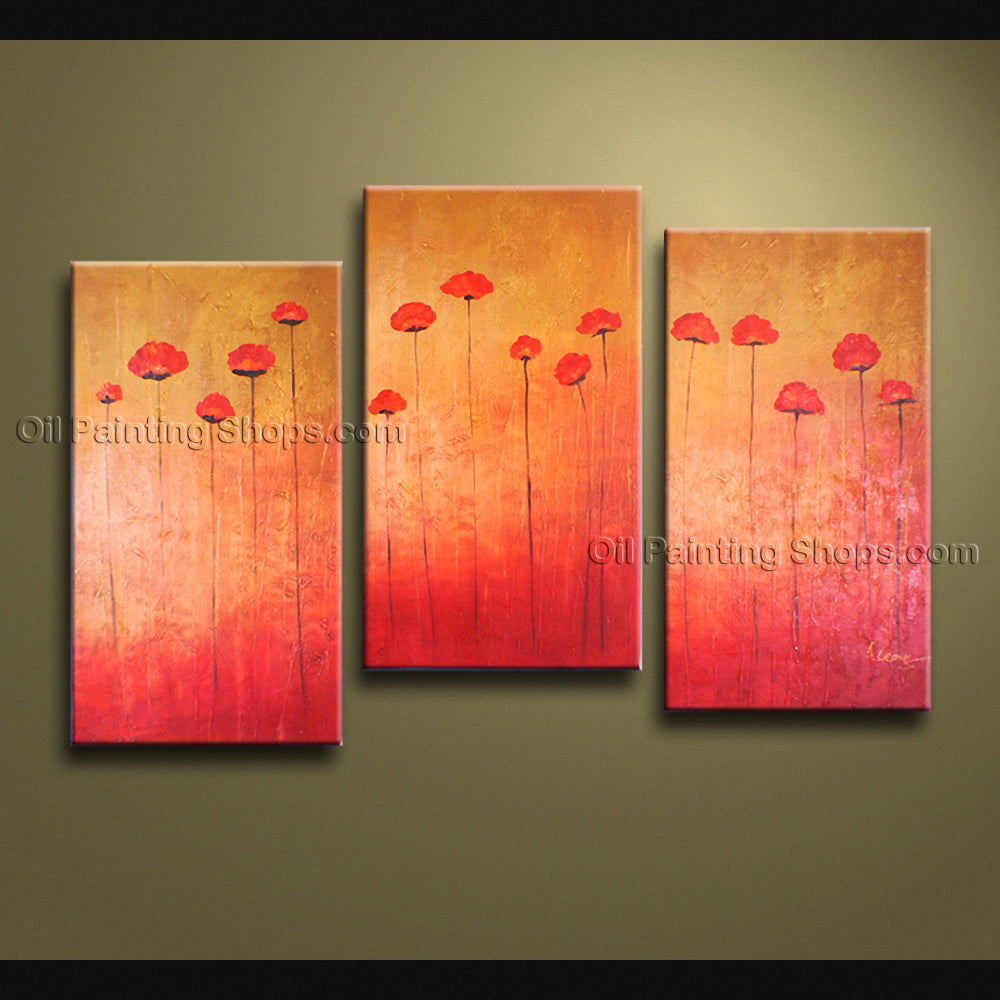 Triptych Contemporary Wall Art Floral Painting Tulip Contemporary Decor