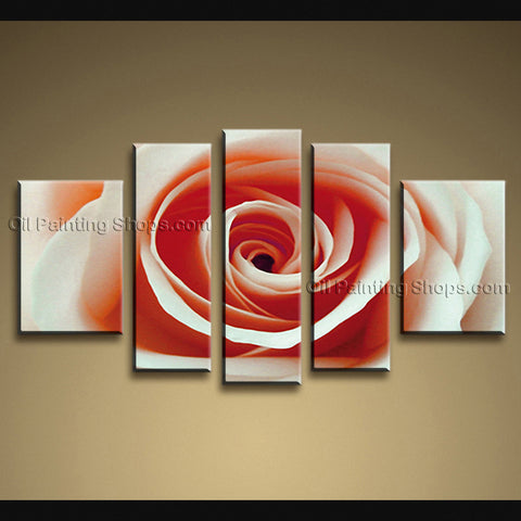 Pentaptych Contemporary Wall Art Floral Painting Rose Flower On Canvas