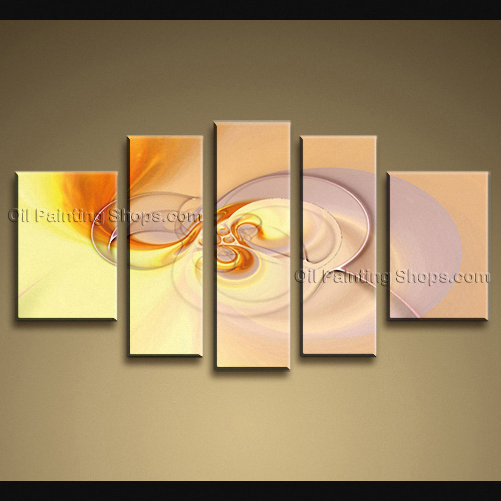 Hand-painted Pentaptych Modern Abstract Painting Wall Art Decoration Ideas