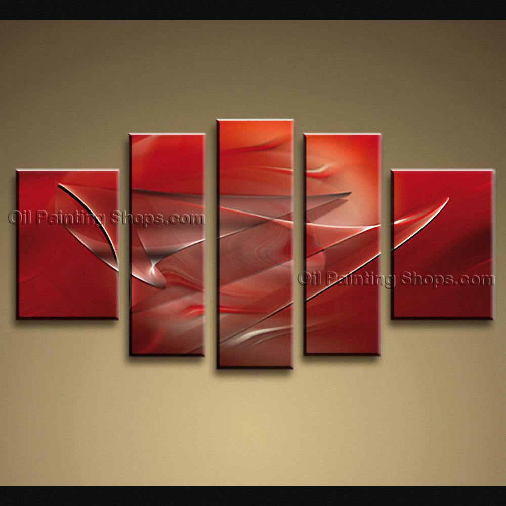 Handmade Pentaptych Modern Abstract Painting Wall Art On Canvas Artworks