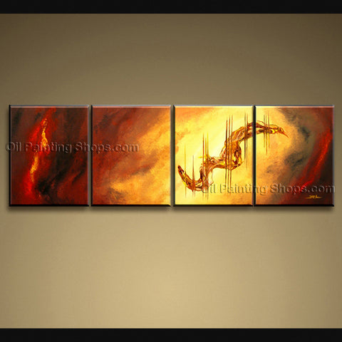 Handmade Tetraptych Modern Abstract Painting Wall Art Sci-fi Oil On Canvas