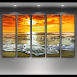 extra large hand painted oil painting on canvas contemporary seascape sunset