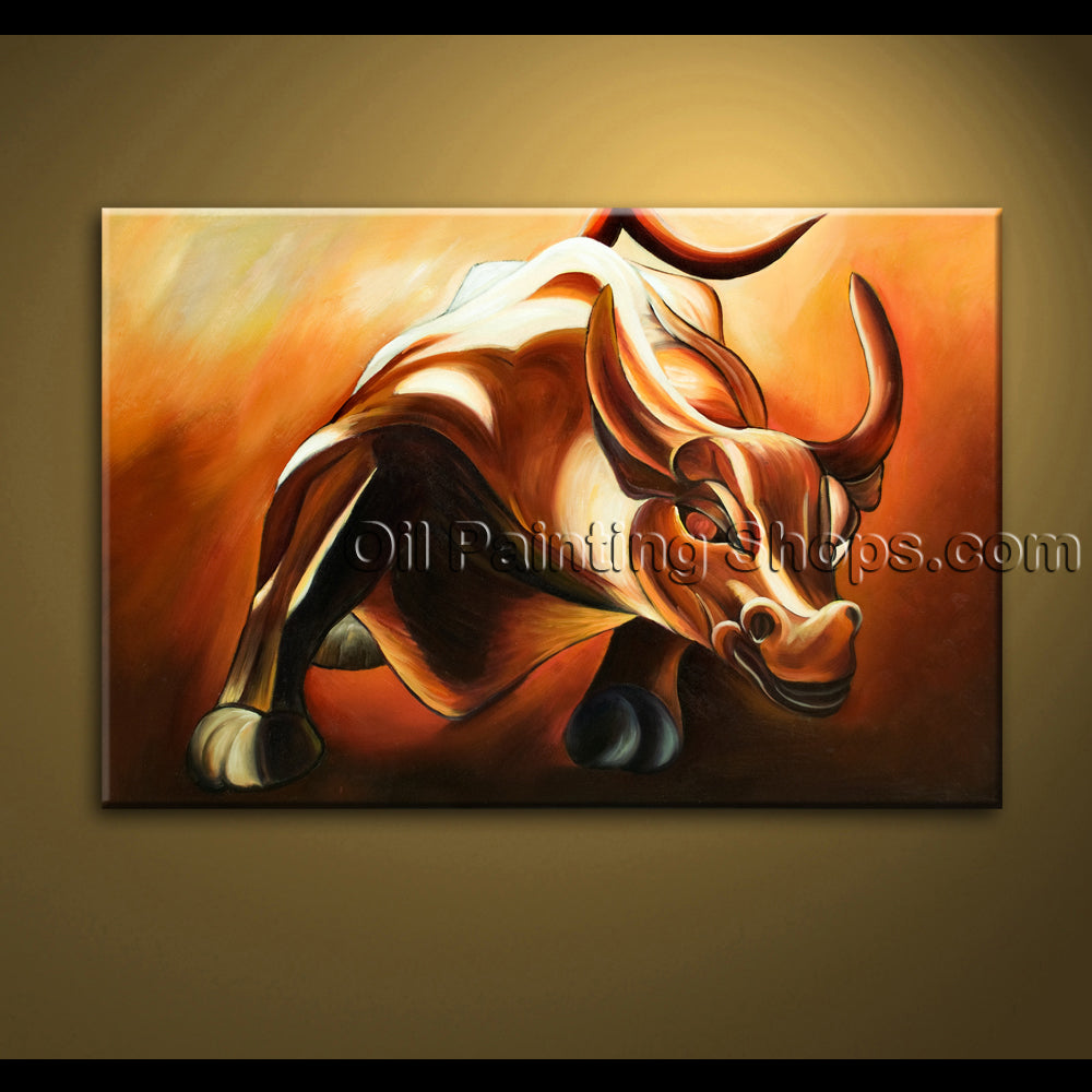 original hand painted unique abstract painting new york bull statue wall street