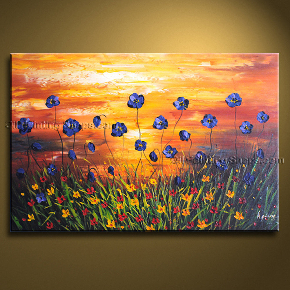 Elegant Contemporary Wall Art Floral Painting Poppy Flower Oil