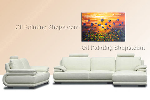 Elegant Contemporary Wall Art Floral Painting Poppy Flower Oil Canvas