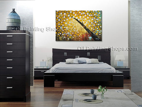 Amazing Contemporary Wall Art Floral Painting Lucky Tree Landscape Scene