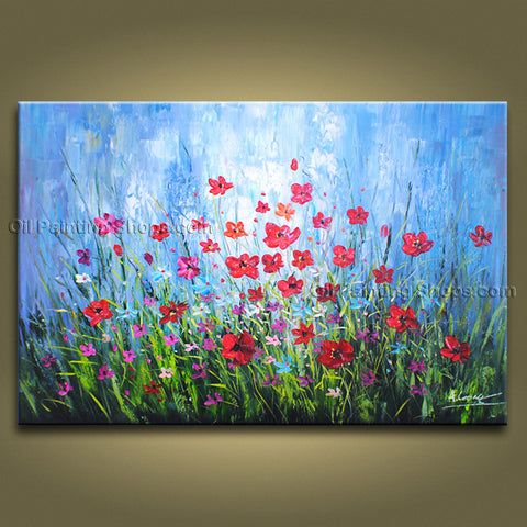 Beautiful Contemporary Wall Art Floral Painting Poppy Flower On Canvas