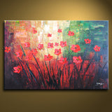 Elegant Contemporary Wall Art Floral Painting Poppy Flower On Canvas