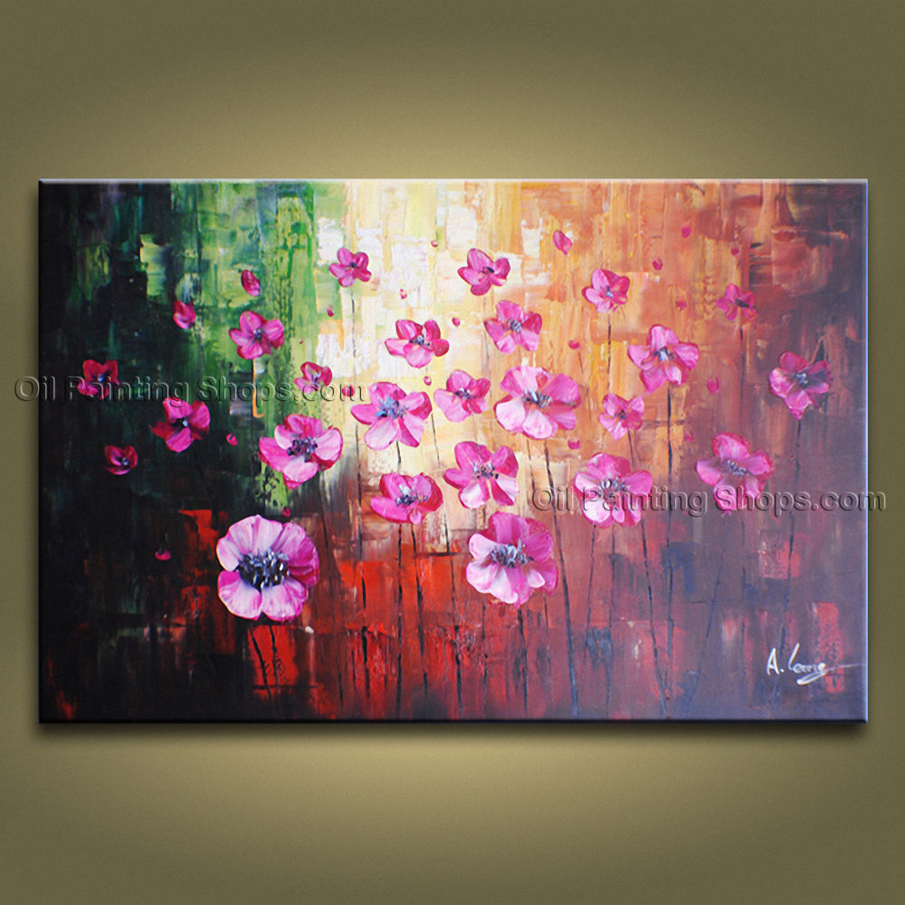 Elegant Contemporary Wall Art Floral Painting Poppy Flower Inner Stretched