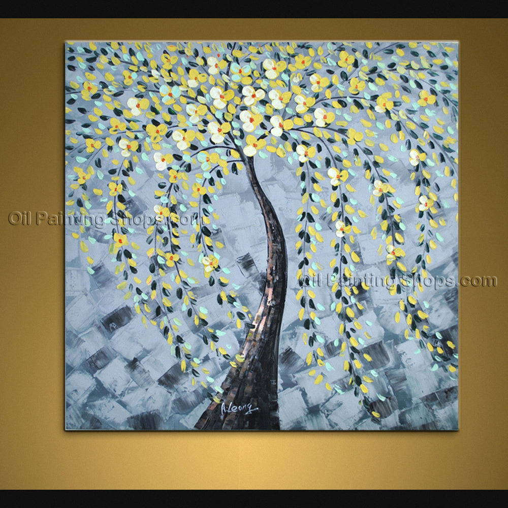 Stunning Contemporary Wall Art Landscape Painting Tree Interior Design