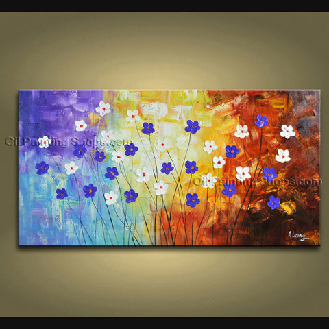 Elegant Contemporary Wall Art Floral Painting Daisy Flowers Artwork