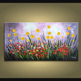 Astonishing Contemporary Wall Art Floral Painting Daisy Contemporary Decor