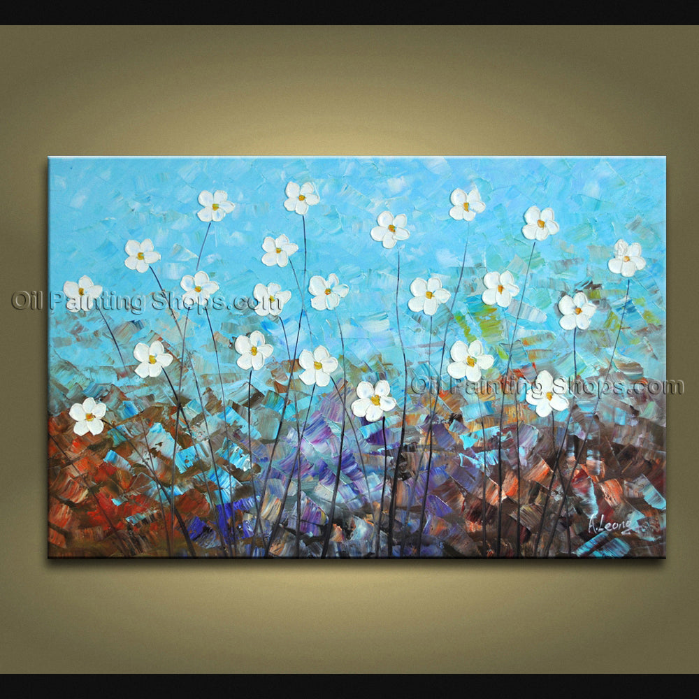 Beautiful Contemporary Wall Art Floral Painting Daisy Contemporary Decor