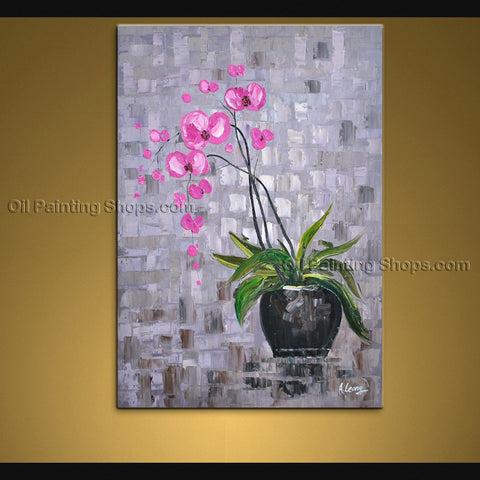 Elegant Contemporary Wall Art Floral Painting Orchid Flower Oil Canvas