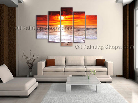 Pentaptych Contemporary Wall Art Seascape Painting Sunrise Ocean Waves