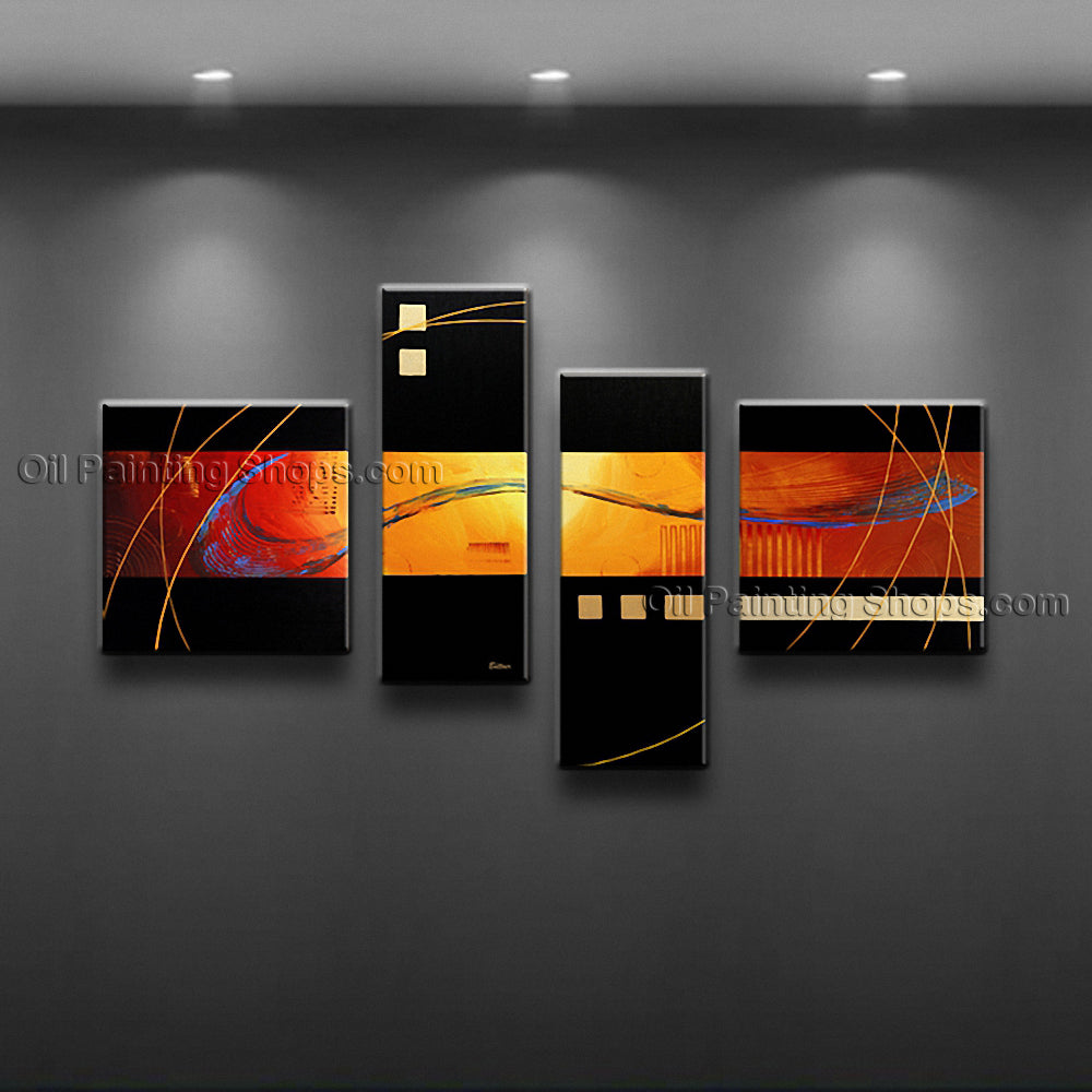 Hand Painted 4 Pieces Modern Abstract Painting Wall Art Contemporary Decor