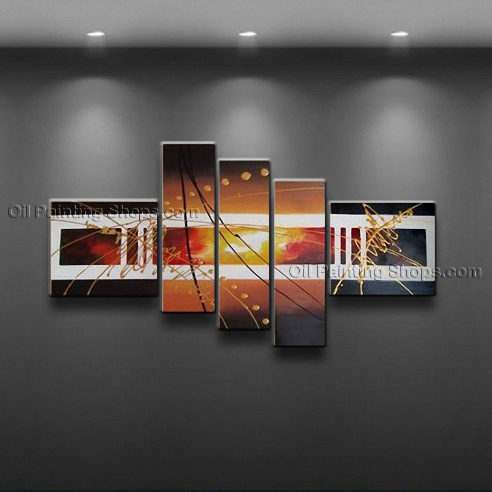 Hand Painted 5 Pieces Modern Abstract Painting Wall Art Artwork Pictures