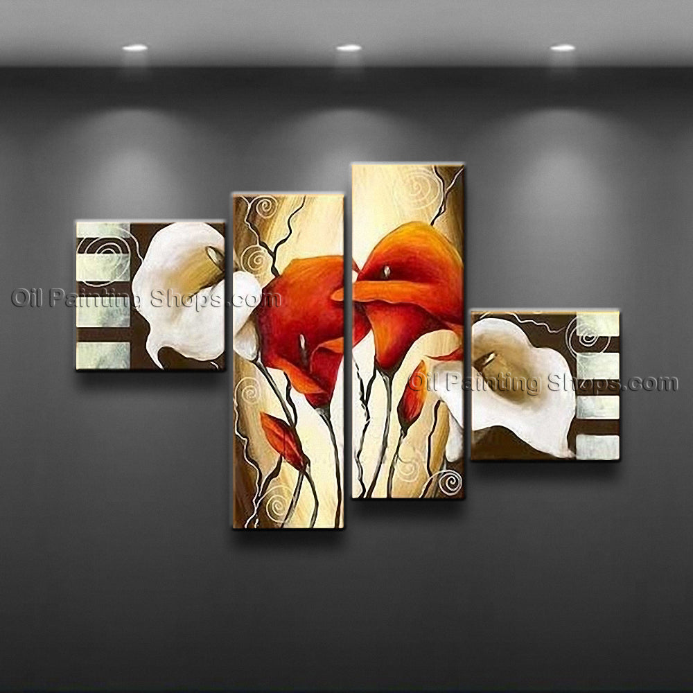Tetraptych Contemporary Wall Art Floral Painting Lily Flowers Artwork