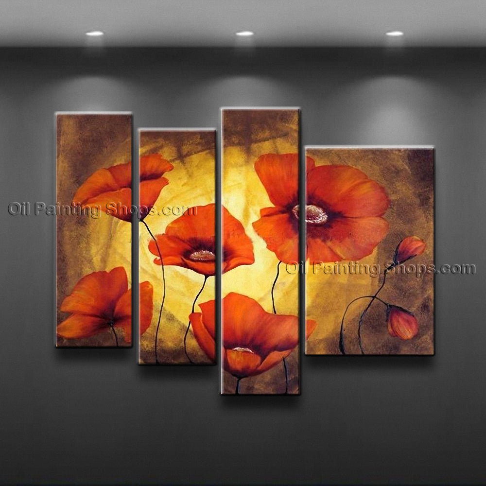 Tetraptych Contemporary Wall Art Floral Painting Poppy Flower On Canvas