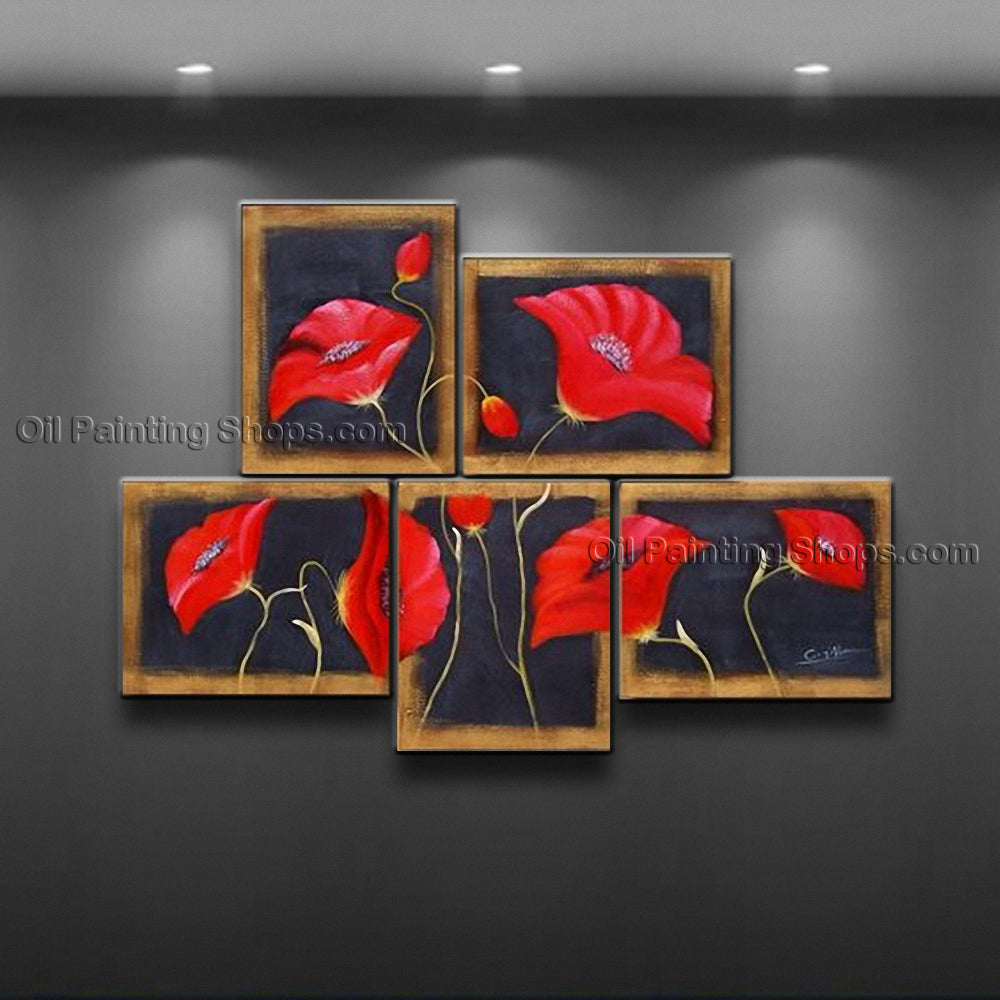 5 Pieces Contemporary Wall Art Floral Poppy Flower Gallery Wrapped