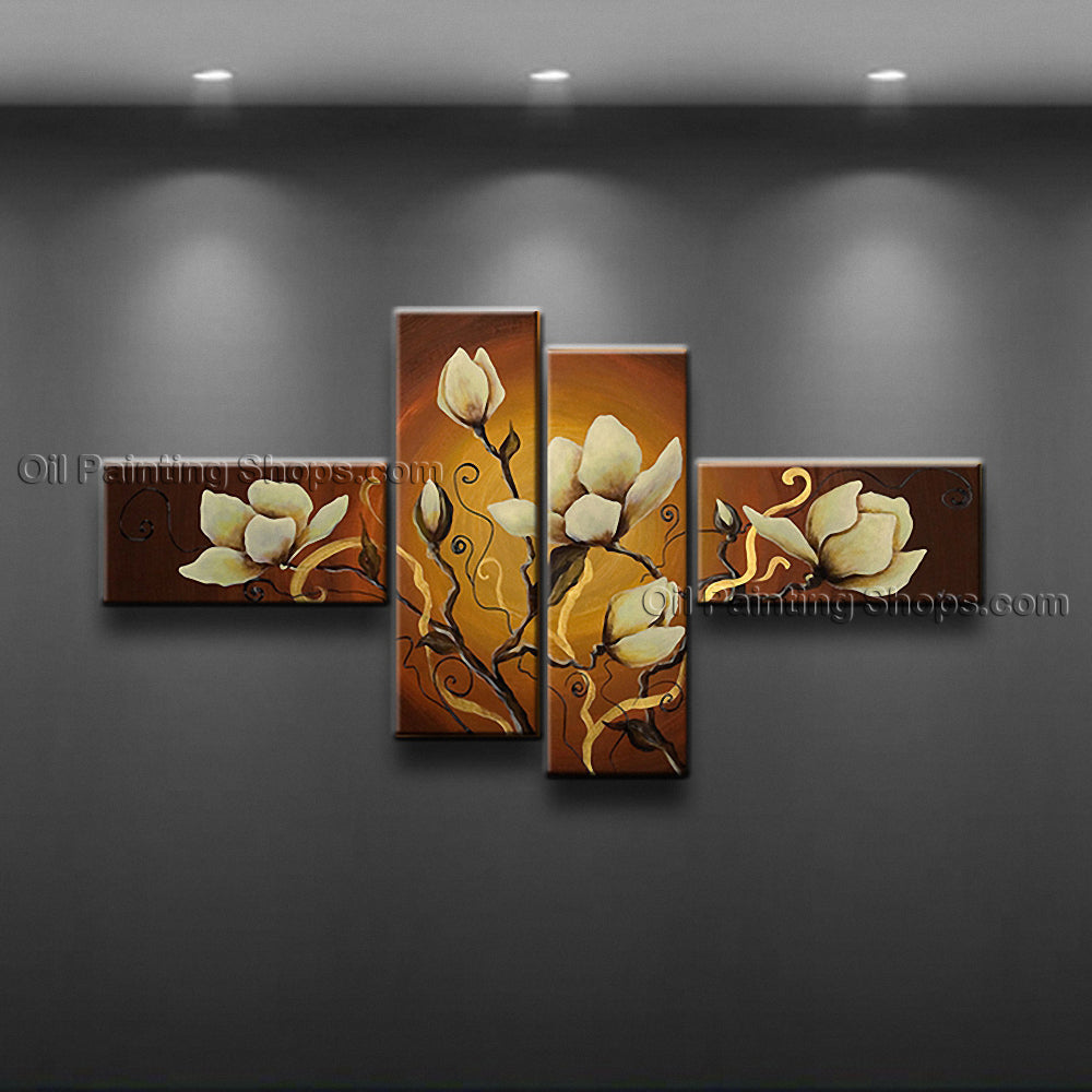 Handmade 4 Pieces Contemporary Wall Art Floral Painting Contemporary Decor