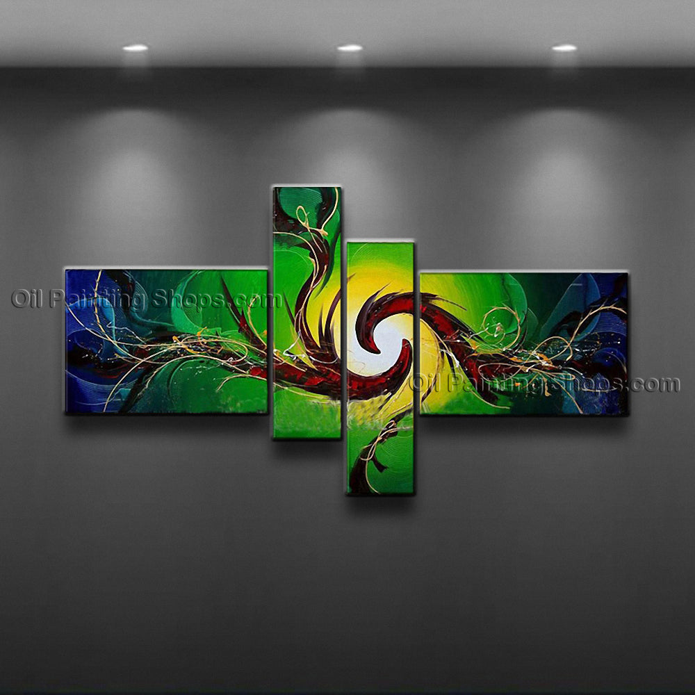 Hand-painted Tetraptych Modern Abstract Painting Wall Art Gallery Wrapped